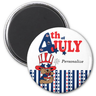 Happy 4th of July Bear Magnet
