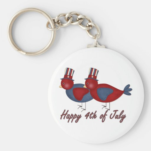 Happy 4th of July Birds Keychain
