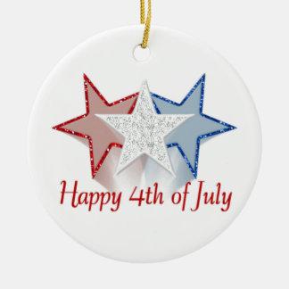 Happy 4th of July Ceramic Ornament