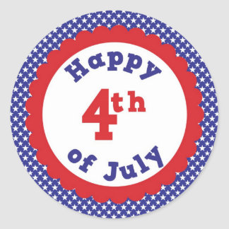 Happy 4th of July Classic Round Sticker
