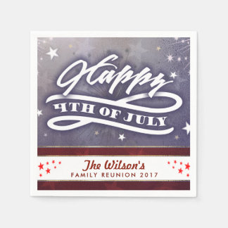 Happy 4th of July Custom Text Napkins Disposable Napkins