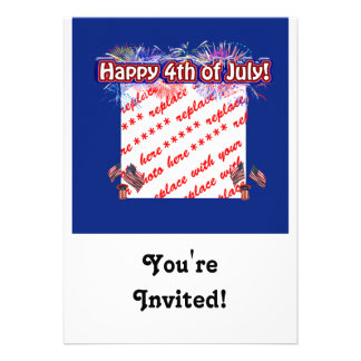 Happy 4th Of July Fireworks Flags Photo Frame Invitation