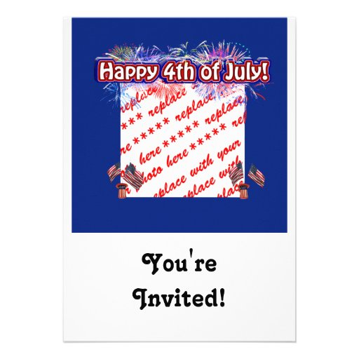 Happy 4th Of July Fireworks & Flags Photo Frame Personalized Announcement