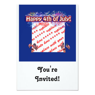 Happy 4th Of July Fireworks & Flags Photo Frame 5x7 Paper Invitation Card
