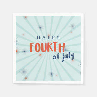 Happy 4th of July Fireworks Paper Napkins Custom