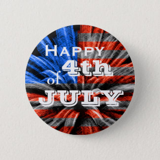 Happy 4th of July Flag Fireworks 2 Inch Round Button