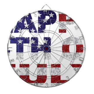 Happy 4th of July Flag Text Outline Txture Illustr Dartboard