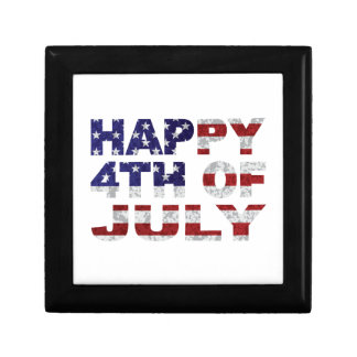 Happy 4th of July Flag Text Outline Txture Illustr Gift Box