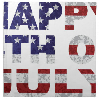Happy 4th of July Flag Text Outline Txture Illustr Napkin