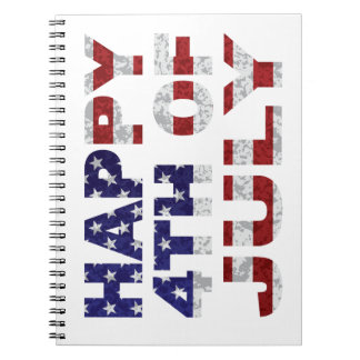 Happy 4th of July Flag Text Outline Txture Illustr Notebook