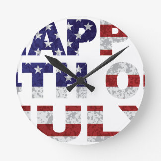 Happy 4th of July Flag Text Outline Txture Illustr Round Clock