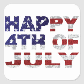 Happy 4th of July Flag Text Outline Txture Illustr Square Sticker