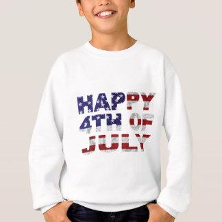 Happy 4th of July Flag Text Outline Txture Illustr Sweatshirt