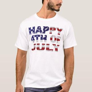 Happy 4th of July Flag Text Outline Txture Illustr T-Shirt