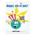 "happy 4th of july globe cartoon patriotic 6.5"" x 8.75"" invitation card"