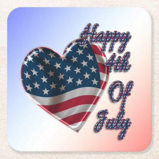Happy 4th of July Heart - Paper Coaster