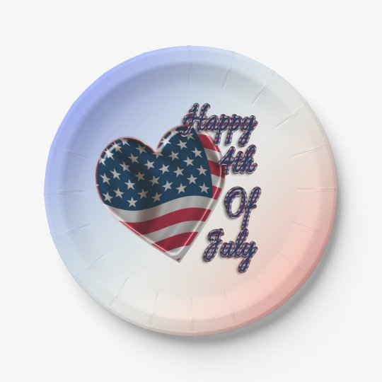 Happy 4th of July Heart - Paper Plate 7 Inch Paper Plate