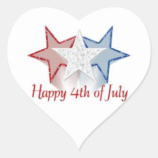 Happy 4th of July Heart Sticker