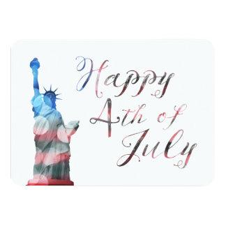 "Happy 4th of July (liberty bokeh) 4.5"" X 6.25"" Invitation Card"