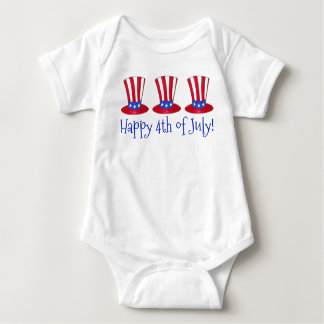 Happy 4th of July Patriotic Uncle Sam Hat America Baby Bodysuit