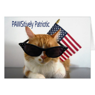 Happy 4th of July - PAWSitively Patriotic Cat Card