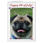 Happy 4th of July Pug Dog Greeting Cards