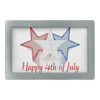 Happy 4th of July Rectangular Belt Buckles