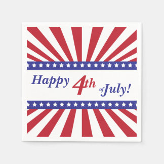 Happy 4th of July Red White and Blue Paper Napkins
