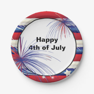 Happy 4th of July | Red, White & Blue 7 Inch Paper Plate