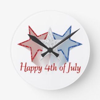 Happy 4th of July Round Clock