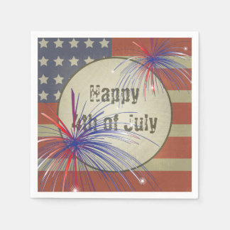 Happy 4th of July | Rustic Vintage Disposable Napkins