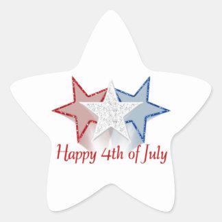 Happy 4th of July Star Sticker