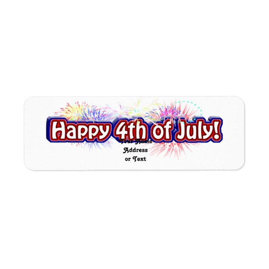 Happy 4th of July Text Design w/Fireworks