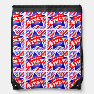 Happy 4th of July Theme Pattern Drawstring Bag