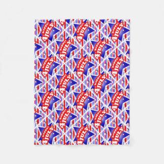 Happy 4th of July Theme Pattern Fleece Blanket