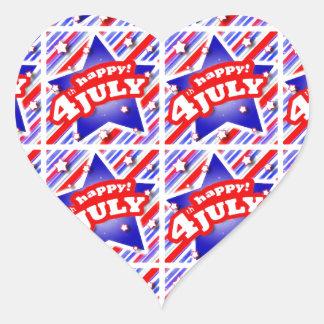 Happy 4th of July Theme Pattern Heart Sticker
