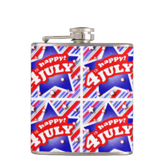 Happy 4th of July Theme Pattern Hip Flask
