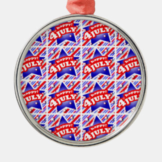 Happy 4th of July Theme Pattern Metal Ornament