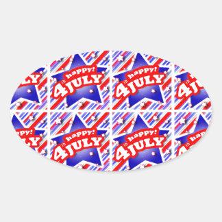 Happy 4th of July Theme Pattern Oval Sticker