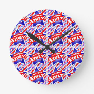 Happy 4th of July Theme Pattern Round Clock