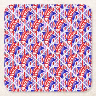 Happy 4th of July Theme Pattern Square Paper Coaster