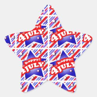 Happy 4th of July Theme Pattern Star Sticker