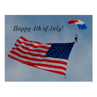 Happy 4th of July with American Flag postcard