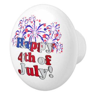 Happy 4th of July with Fireworks Ceramic Knob