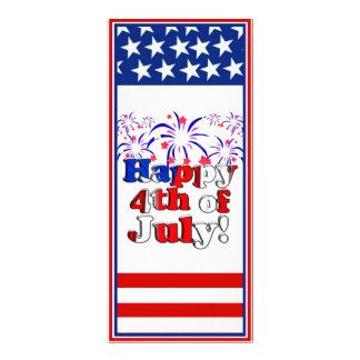 Happy 4th of July with Fireworks Full Color Rack Card