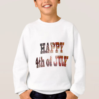 Happy 4th of July with Fireworks Grunge Text Outli Sweatshirt