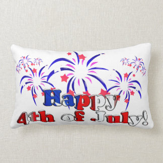 Happy 4th of July with Fireworks Lumbar Pillow