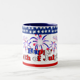 Happy 4th of July with Fireworks Two-Tone Coffee Mug