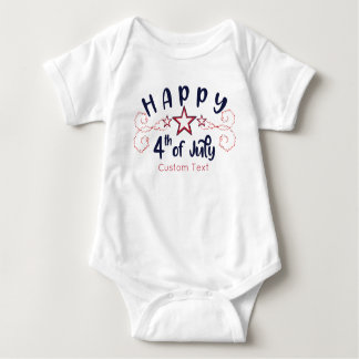 Happy 4th of July with Optional Custom text Stars Baby Bodysuit