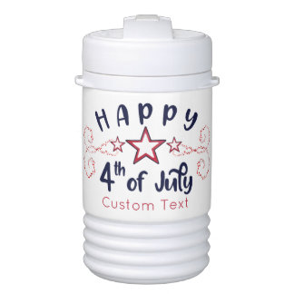 Happy 4th of July with Optional Custom text Stars Cooler